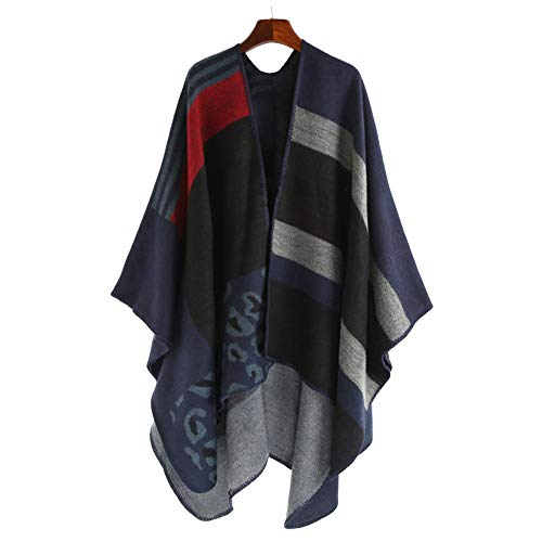 Poncho Cardigan Uso Scialle Colorblock Da Liulife B Doppio Sciarpa Cape Mantello Winter Donna Geometric Autumn ZxqcnWgaw5
