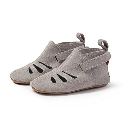 (Zutano Genuine Leather Sandal, 12M, Light Gray Suede)