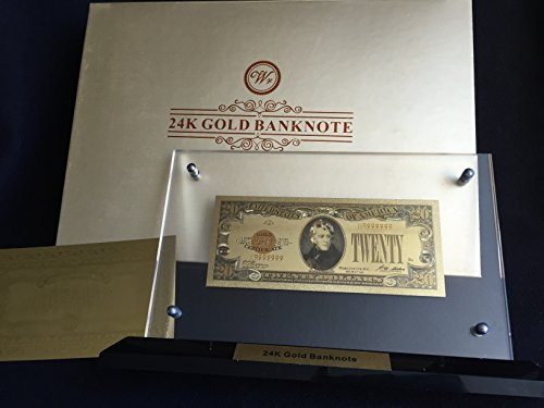 Gold Plated 1928 US novelty money Banknote $20 with gold certificate, display stand and box + Free Novelty Good Luck Million Dollar ()