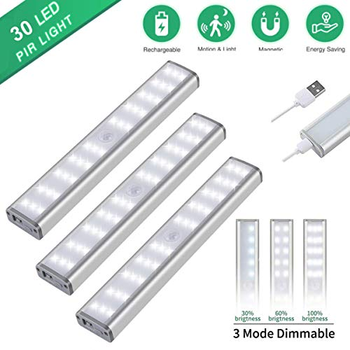 Motion Sensor Closet Lights, 30 LED Dimmable Wireless Under Cabinet Lighting with Built-in Rechargeable Battery, Stick-on Anywhere Magnetic Night Lamp for Cupboard Wardrobe Kitchen Stairs, 3 Pack