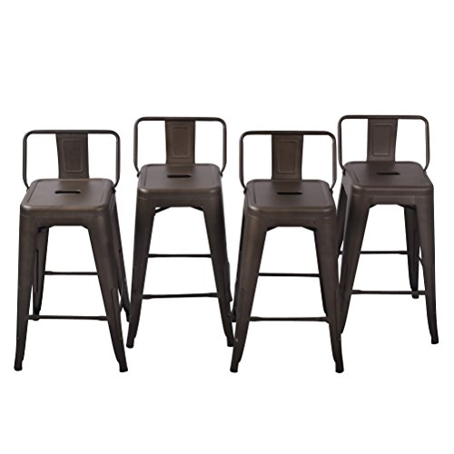 26'' Low Back Metal Counter Stool Height Bar Stools [Set Of 4] for Indoor/Outdoor Barstools, Bronze by HAOBO Home