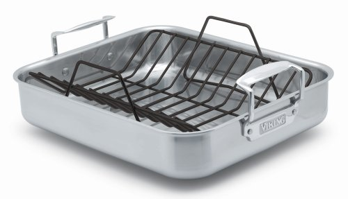 Viking 16x13x3 Inch Stainless Steel Roasting Pan with Nonstick Rack