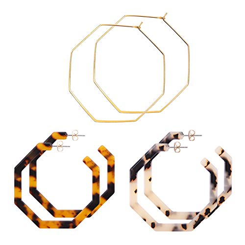 WOWSHOW 3 Pairs Geometric Hoop Earrings Set for Women Fashion Statement Hexagon Earrings Bohemian Jewelry -