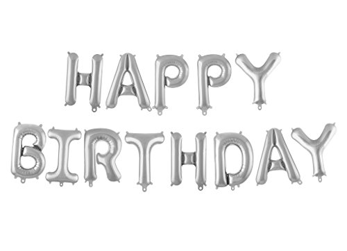 Treasures Gifted 16 Inch Silver Happy Birthday Balloons Decor Party Decorations for Adults and Children Set of Foil Mylar Banner Cute Letters Colorful Wall Garland Backdrop -