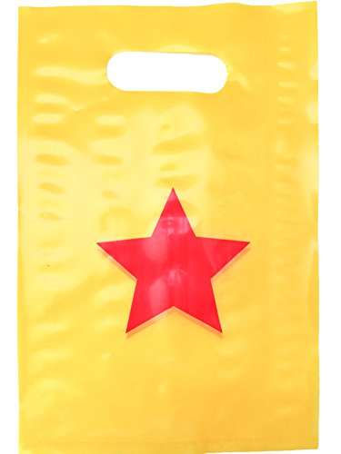 Lifetime Inc Party Favor Goodie Bags Superhero Wonder Woman Theme Birthday Supplies Plastic with Handle (Star)