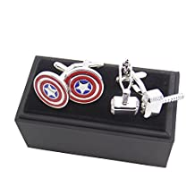 Masalong US Superhero retro Cuff Links Captain America & Raytheon hammer Party mens cufflinks 2 Pairs