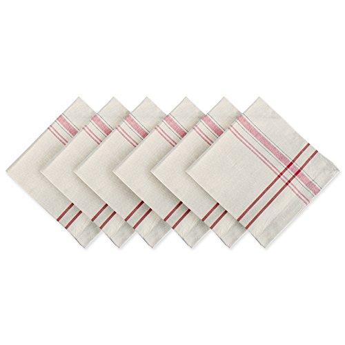 DII 100% Cotton, Oversized Basic Everyday 20x20 Napkin Set of 6, Tango Red French Stripe