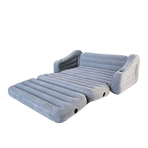 Intex Inflatable 2 In 1 Pull Out Sofa And Queen Air Mattress Futon Gray