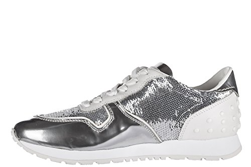Sportivo Leather Tod's Shoes allacciata Sneakers Trainers Silver Women's waHwXq7
