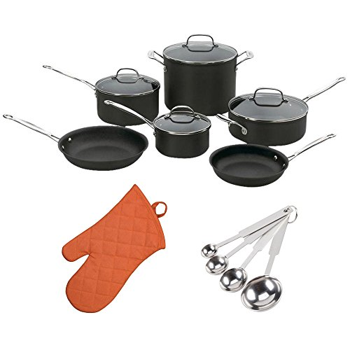 Cuisinart 66-10 Chefs Classic Nonstick Anodized 10-piece Cookware Set + Free Oven Mitt and Measuring Spoons