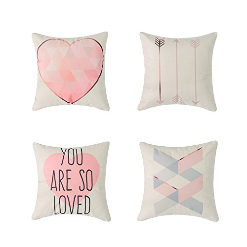 Heyhousenny Decorative Pillowcase Covers 18 x 18 inches Pack of 4
