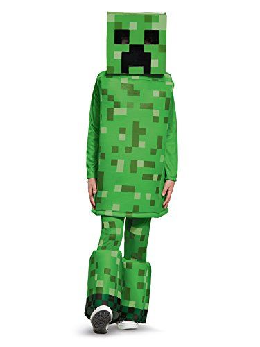 Creeper Costume - Creeper Prestige Minecraft Costume, Green, Large