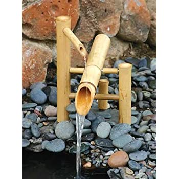 Bamboo Accents Zen Garden Water Fountain 12 Inch Shishi Odoshi Rocking  Spout With Submersible Pump Kit