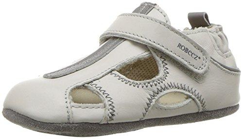 (Robeez Boys' Sandal - Mini Shoez Crib Shoe, Rugged rob - Light Grey, 18-24 Months M US Infant)