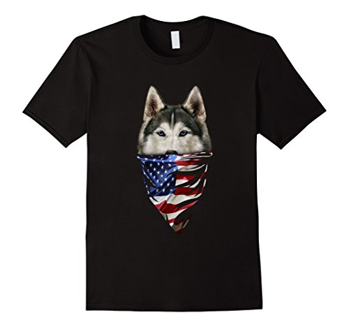 Mens T-Shirt, Siberian Husky Dog, Patriotic America Bandana, USA 2XL Black - Bandana Dog T-shirt