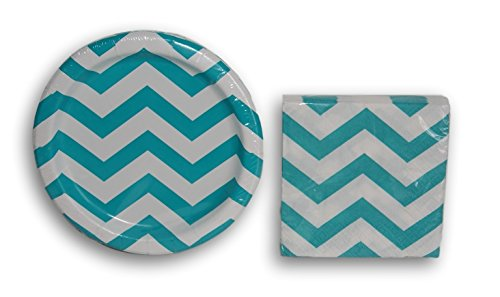 Blue Teal Chevron Party Supply Kit - Dessert Napkins and Plates (Chevron Blue Dessert Plates)
