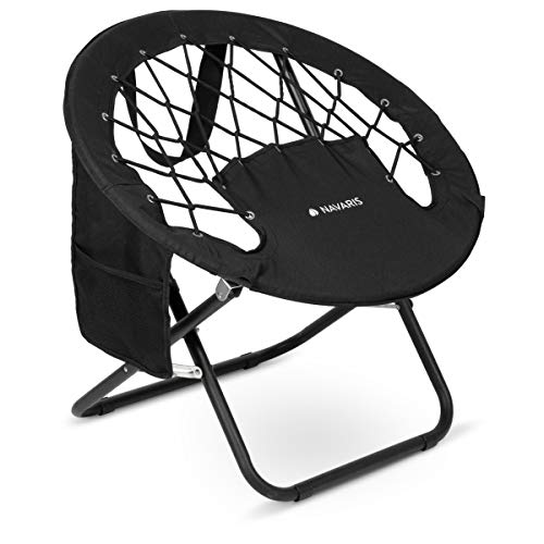 Navaris Lightweight Bungee Chair for Camping – Elastic Folding Chair with Spring System and Side Pocket for Festival…