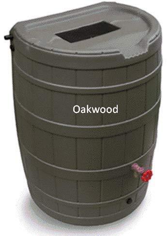 50 Gallon Flat Back Rain Barrel - Oakwood