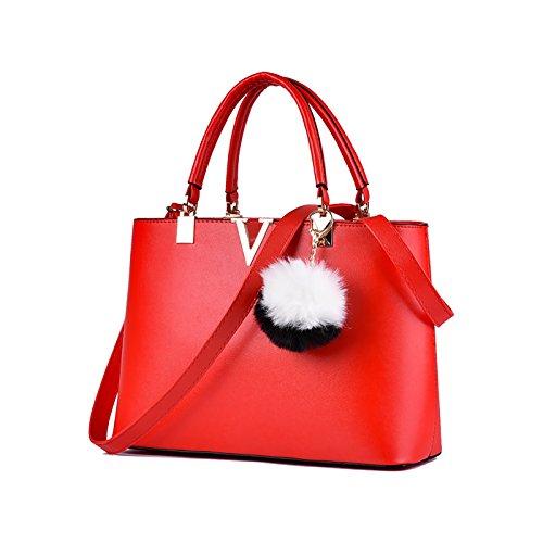 Tisdaini De moda Mujer Bolso Bolsas de negocio V de palabras Sencillo Bolso de mensajero en un solo hombro Bolso de mujer Billetero Rojo