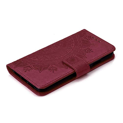 Case iPhone XR, Bear Village PU Leather Embossed Design Case with Card Holder and ID Slot, Wallet Flip Stand Cover for Apple iPhone XR (#7 Brown) by Bear Village (Image #4)