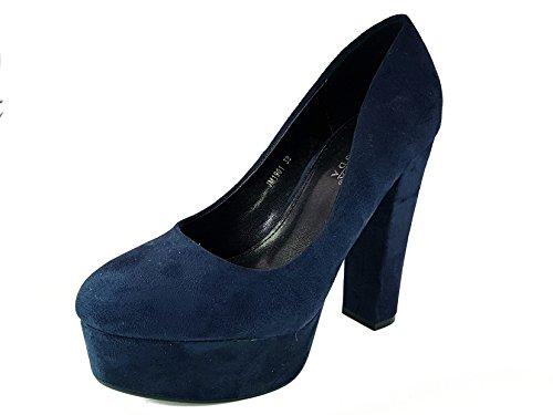 shoes scarpe donna ragazza moda comoda new decoltè decolletè dekol'tè tacco a blocchetto 13 cm plateaux 4 cm tg 39 colore blu tessuto finto camoscio