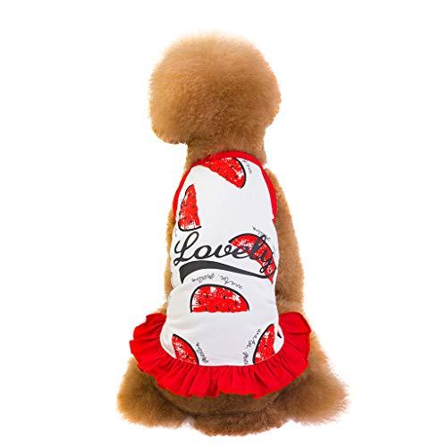 Gogoodgo Pet Dress,Cute Puppy Apparel Printed Dog Shirt Vest Summer Pet Costume Sleeveless T-Shirt Small Dog Cat Clothes