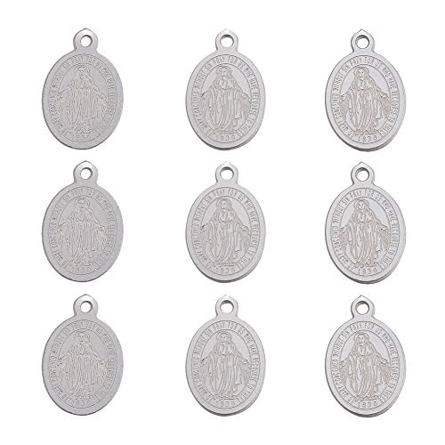 DanLingJewelry 304 Stainless Steel Virgin Mary Oval Miraculous Medal Charms Pendants for Men Women for Jewelry Making Necklace Earring Bracelet DIY(Stainless Steel Color-100pcs,14 x 9 x0.8mm.hole:1mm)