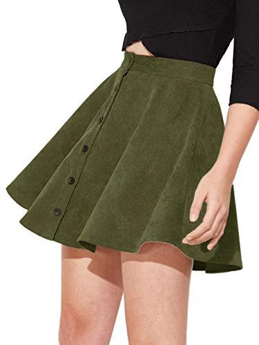 SheIn Women's Button Up Flare A-Line Corduroy Skater Cord Short Skirt