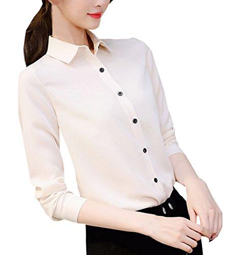 Slim Beige et Printemps Shirts Revers Chemises Manches Tee Longues Casual Hauts Automne Chemisiers Femmes Blouses Mode Tops JackenLOVE YpwTxgT
