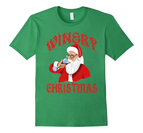 Mens Storecastle: Winery Christmas Wine Santa Gift T-Shirt XL Grass