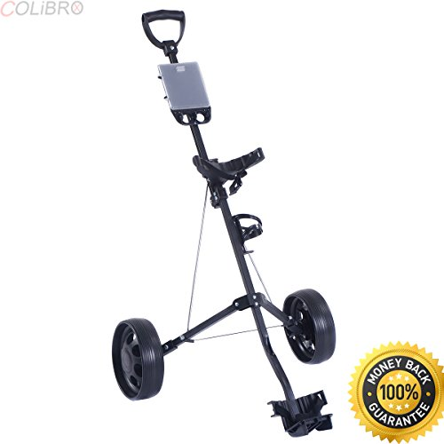 COLIBROX--New Foldable 2 Wheel Push Pull Golf Cart /Cup Holder Trolley Swivel Steel Light. pull carts walmart. costway golf cart. best golf pull carts for sale. golf pull carts amazon. by COLIBROX (Image #6)