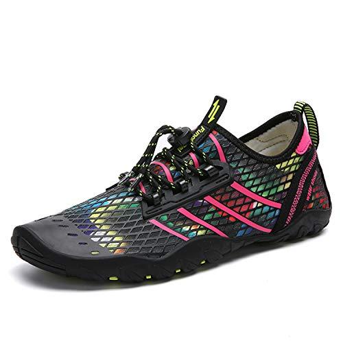 Seabone Water Shoes for Men and Women Barefoot Aqua Socks Quick-Dry Swim Shoes Aerobics Beach Walking Exercise Pink 7 M US Women / 6 M US Men