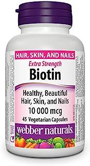 Webber Naturals Biotin, Vegetarian Capsule, 10,000 mcg, 45 Count