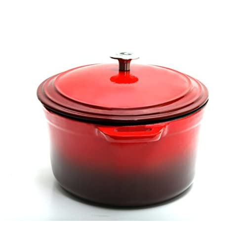 Guro Enameled Cast Iron Oval Dutch Oven Casserole, Red , 7.4QT