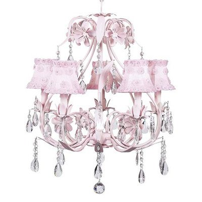 Jubilee Collection 7906-2057 5 Arm Ballroom Chandelier with Petal Flower Shade, Pink Jubilee Lighting 5 Arm