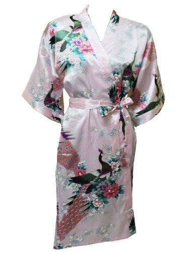 Artiwa - kimono de mujer de estilo túnica con pavo real y diseño de flores Rosa