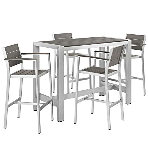 - Modway Shore 5-Piece Aluminum Outdoor Patio Pub Bistro Set with Bar Stools in Silver Gray