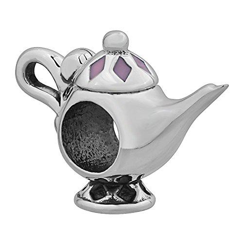 Pink Enamel Tea Pot 925 Sterling Silver Bead Fits European Charms