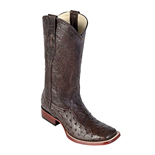 Genuine OSTRICH QUILL BROWN WIDE SQUARE Toe Los Altos Men's Western Cowboy Boot 8220307