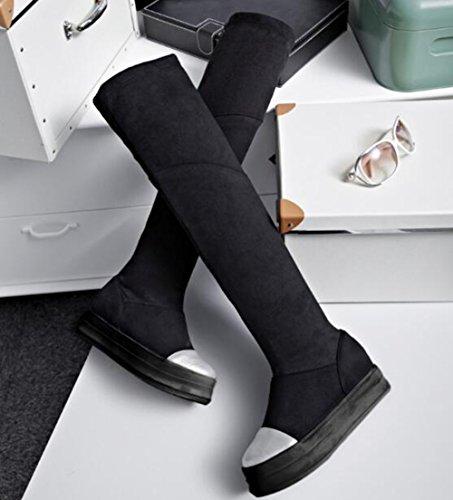 Easemax Womens Trendy Frosted Stiksels Kleur Ronde Neus Half Verborgen Hak Rits Laarzen Zwart
