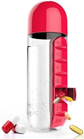 Asobu Combine Daily Pill Box Organizer with Water Bottle, 20 oz, Black (Red)