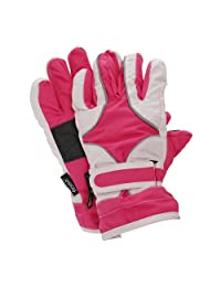 FLOSO Childrens/Kids Girls Heavy Duty Waterproof Padded Thermal Ski/Winter Gloves (9-12 Years) (Pink)