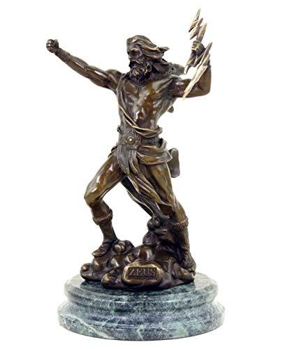 Kunst & Ambiente - Greek Statue - Zeus - God Figure - Signed Giambologna - Mythological Sculpture - Marble Base - Height: 23 cm - Width: 12 cm - Mythological Figurine - 100% Bronze
