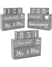 Wedding Countdown Calendar Block Engagement Gifts for Couples and His and Hers, Bride to Be Reversible Text Block - Married, Anniversary Advent Recently Engaged Gift Fiance (6 Piece Set, Grey)