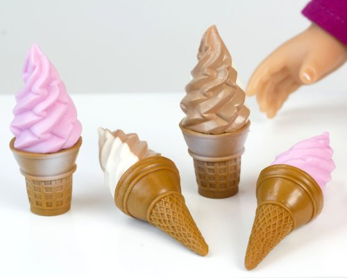 Sophia's Ice Cream Cone 8 Pc. Set for 18 Inch Pretend Play for Dolls, Includes 4 Ice Cream Cones & 4 Paper Napkins. Doll Play Food of 2 Flavors Strawberry and Chocolate & Vanilla Swirl