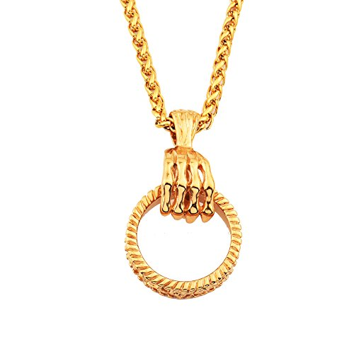 - MCSAYS Gold Plated Necklace Skeleton Hand with Loop Pendant 60cm Link Chain Skull