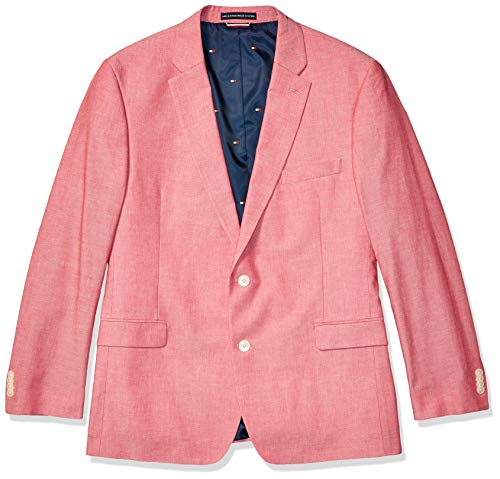 Tommy Hilfiger Men's Modern Fit Stretch Comfort Blazer, red Chambray, 42R