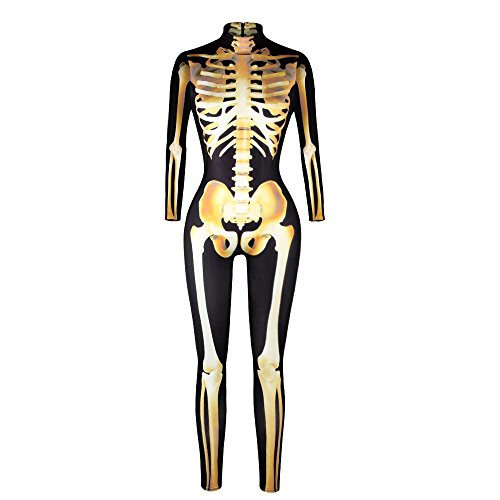 Zelda Cosplay Costume Pattern (Halloween Costume, MagicQK Skeleton Jumpsuit for Zombie Party, 3D Printing Bones Dress Cosplay (L, Golden Bone))