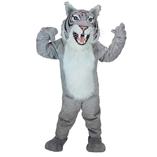 Grey Wildcat Mascot Costume ()