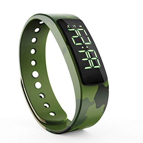 synwee Fitness Tracker Watch Band,Non-Bluetooth Smart Bracelet Walking Pedometer Watch Step Counter/Calorie Burned/Distance/Alarm/Timer for Kids Teens Adult Men Women(Camouflage Green) (Best Non Bluetooth Fitness Tracker)